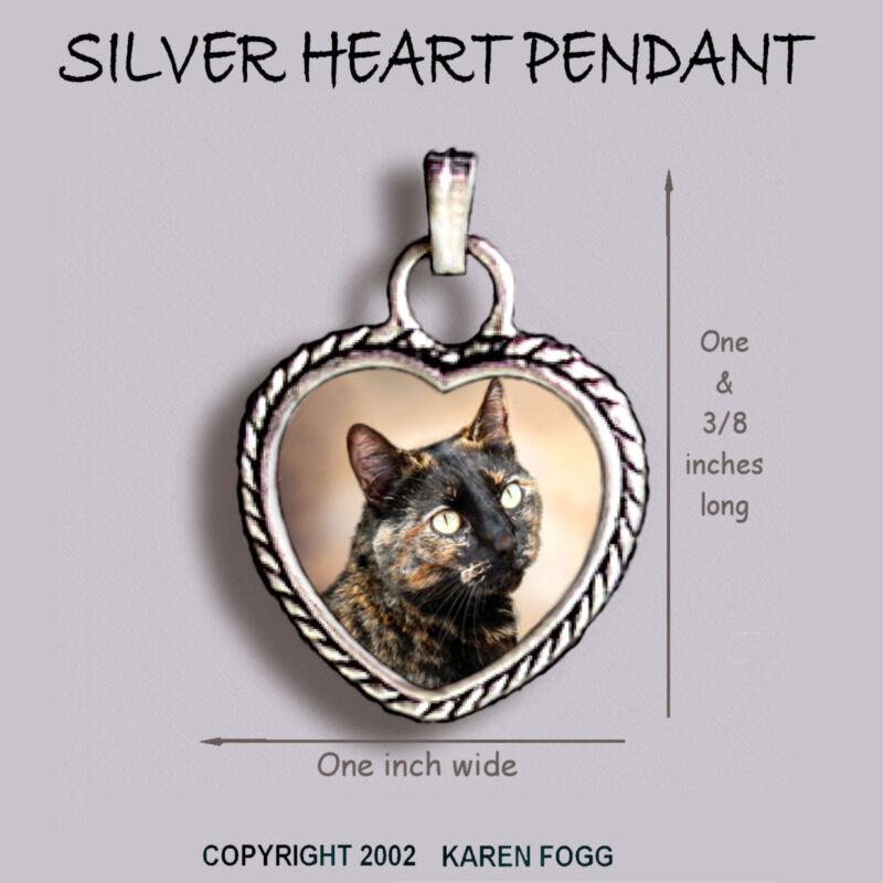 TORTISESHELL SHORTHAIR Cat Tortie - Ornate HEART PENDANT Tibetan Silver
