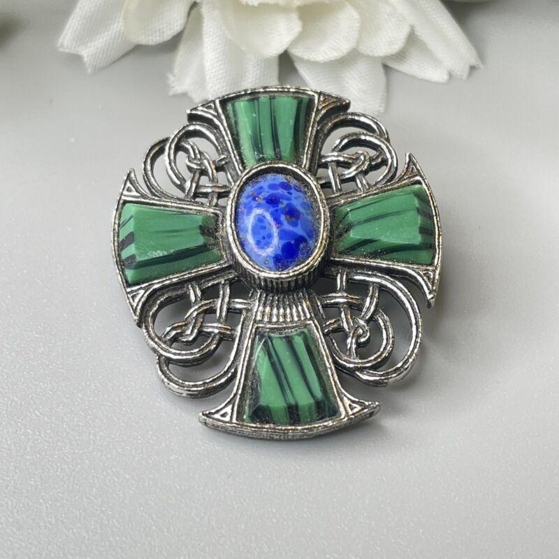 Vintage Faux Lapis & Malachite Irish Celtic Cross Brooch Pin Or Pendant