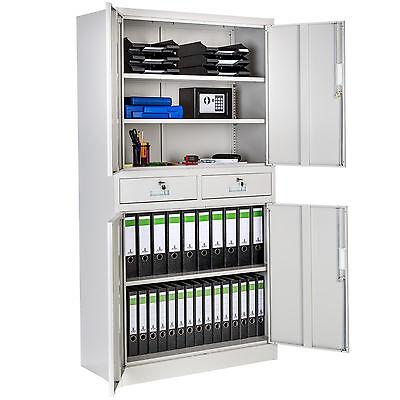 Office storage cupboard metal 2 drawers filing cabinet furniture 180x90x40cm