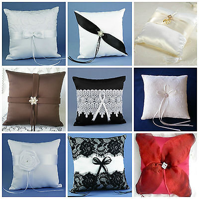 Wedding Ring Bearer's Pillow WHITE, IVORY, BLACK, BROWN, RED, PURPLE, & MORE](Red Wedding Ring)