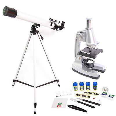 DynaSun TWMP0406 Mikroskop Teleskop Set 100x 400x 900x Lern Schüler mit Zubehör