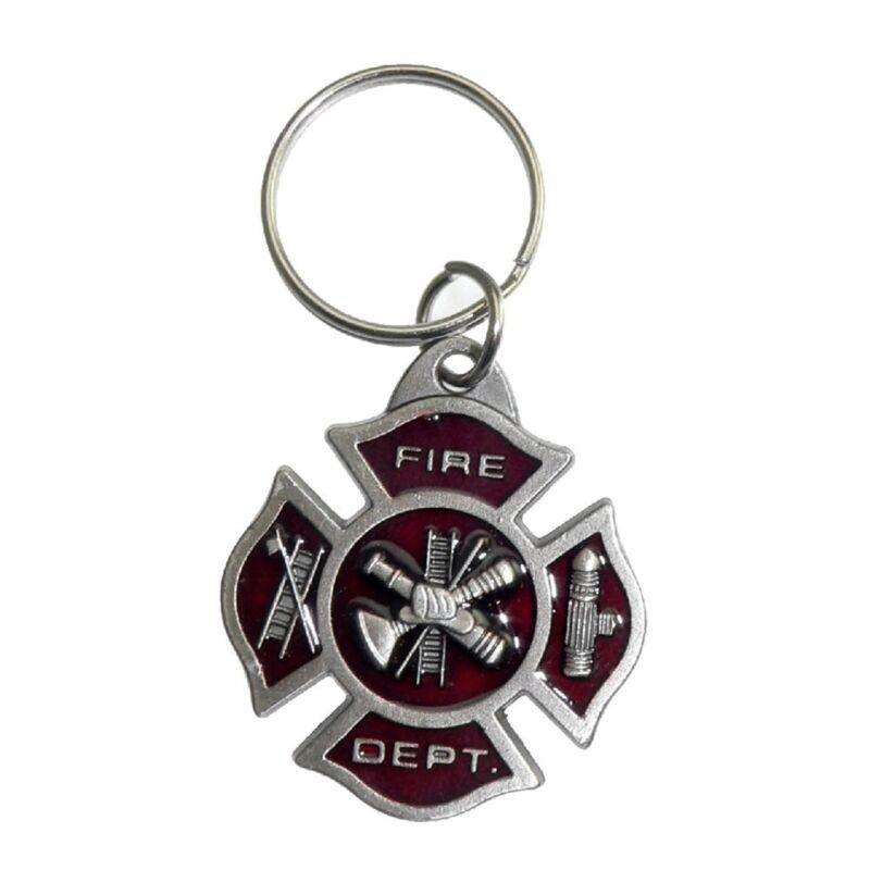Firefighter Fireman Maltese Cross Emergency Rescue Pewter Key Holder Tag Ring