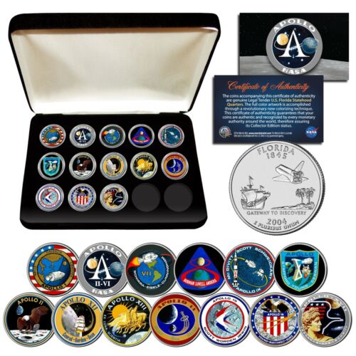APOLLO SPACE MISSIONS U.S. Quarters 13-Coin Complete Set NASA PROGRAM w/ BOX