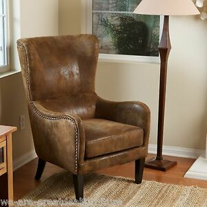 elegant design aged brown microfiber wingback armchair w nailhead accents