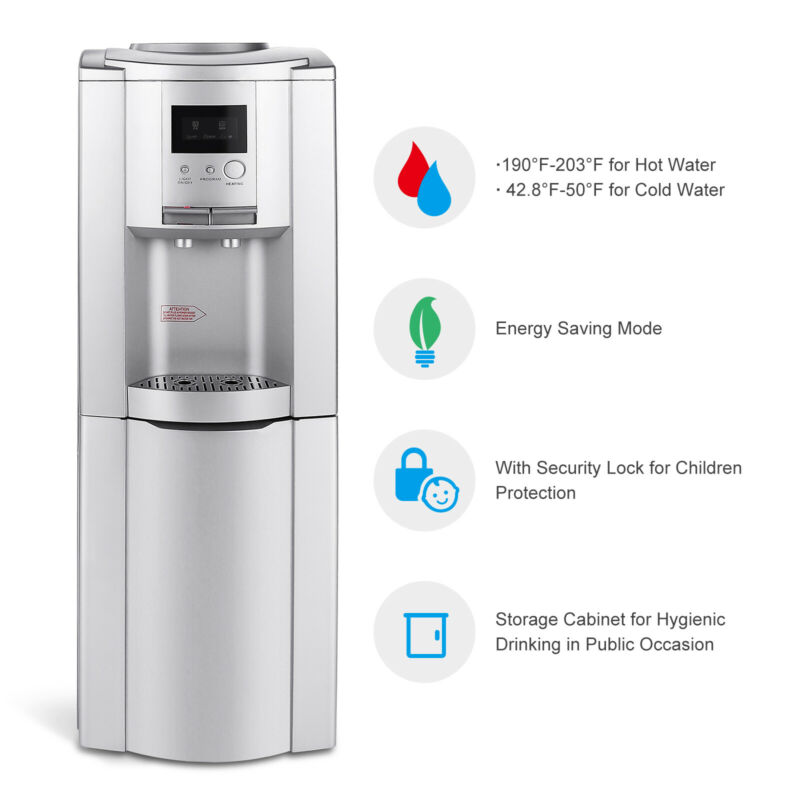 Top Loading Water Cooler Dispenser 5 Gallon W/Safety Lock Cabinet LED Display