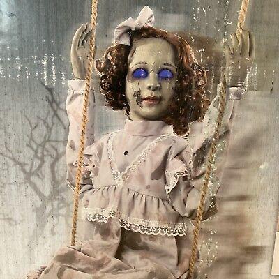 Swinging Decrepit Doll Animated Prop Girl Hanging Halloween Sensor Used Once EUC (Swinging Girl Halloween)