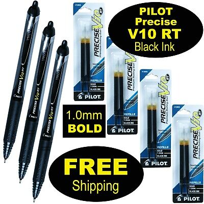 Pilot Precise V10 Rt 3 Pens 4 Packs Of Refills Black Ink 1.0mm Bold Point
