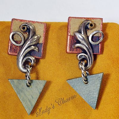 Designer Wood Earrings - OOAK Handmade Designer Art Wood Earrings