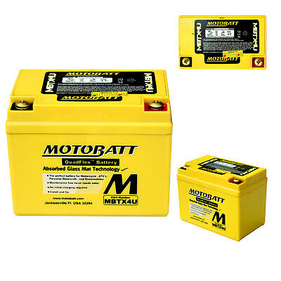 MOTOBATT MBTX4U PREMIUM REPLACEMENT POWERSPORTS MOTORCYCLE QUADFLEX BA