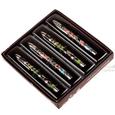 Korean Premium Mother-of-pearl Pattern Lotus 4 Ballpoint Pen Set for Gifts