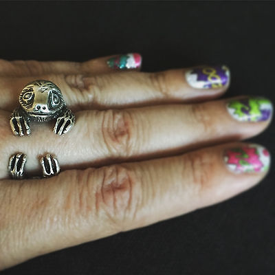 Sloth Tastic  Adjustable Ring Three Toed Sloth Sloths Silver Metal Cute Funny