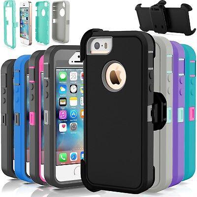 For Apple iPhone 5C 5 5S SE Shockproof Hard Case Cover (Fits Otterbox Belt Clip)