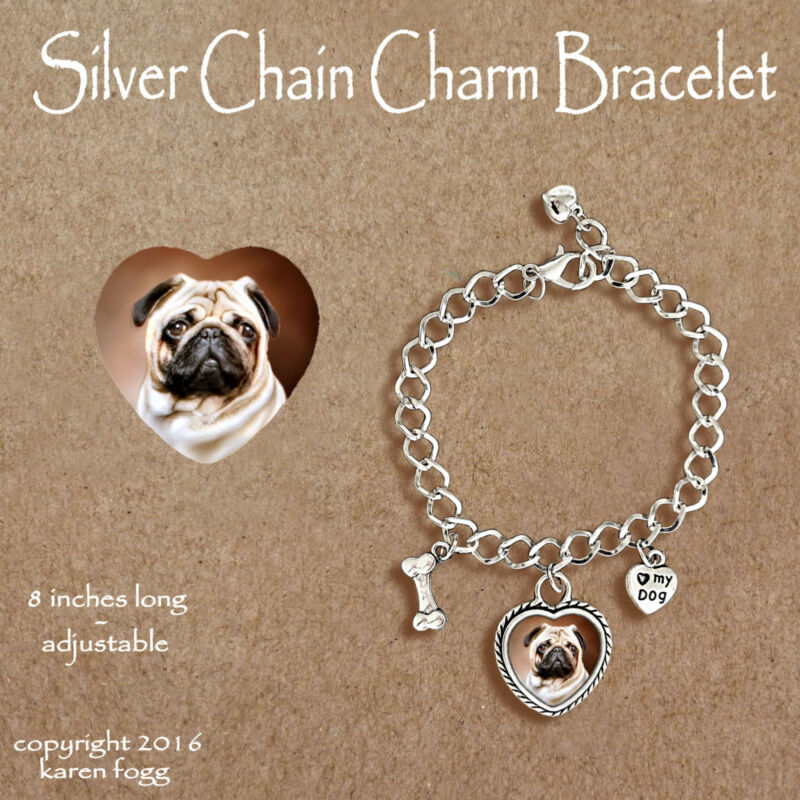 PUG DOG Fawn - CHARM BRACELET SILVER CHAIN & HEART