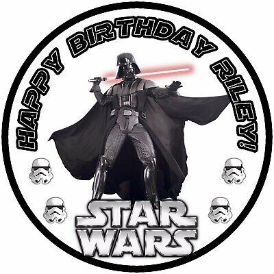 "7.5"" Star Wars Darth Vader Storm Trooper Edible Personalised Cake Topper"