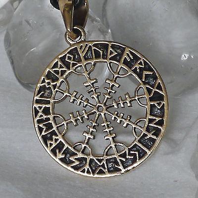 magischer OEGIRSHJALMR Wikinger Kompass + Lederschnur Bronze Runenkreis Runen