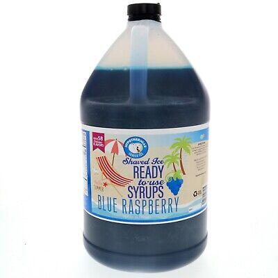 Blue Raspberry Hawaiian Shaved Ice Or Snow Cone Ready To Use Syrup Gallon
