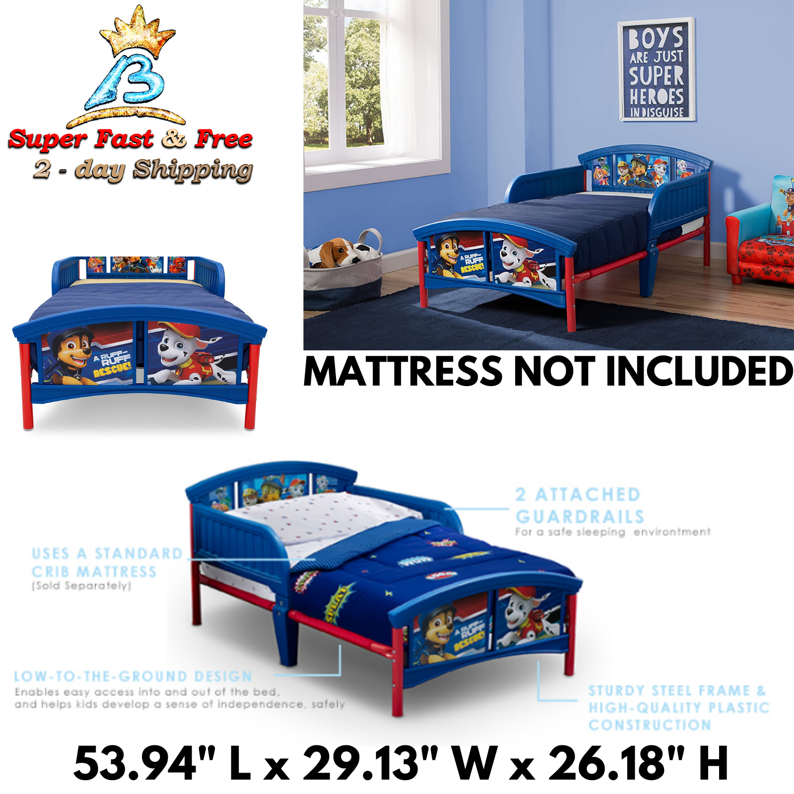 Kids Bed Frame Rails Toddler Paw Patrol Boys Bedroom Furnitu