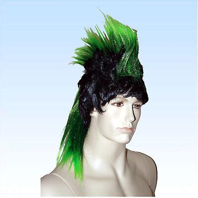 Perücke Iro grün Haarschnitt Frisur Irokese mehrfarbig farbige Perücken
