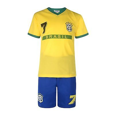 BOYS FOOTBALL KIT SHORT SET BRAZIL YELLOW/ROYAL 2-10years BNWT #BRASIL