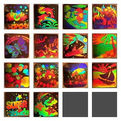 Individual Scrapbooking Stickers (VINTAGE 80's 90's HOLOGRAPHIC 3D LASER MIRROR STICKER LOT Set 14 Or)