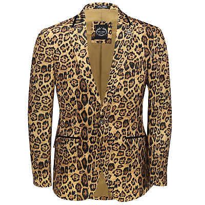 Mens Leopard Rosette Deep Gold Printed Italian Suit Jacket Fitted Blazer Leopard Rosette