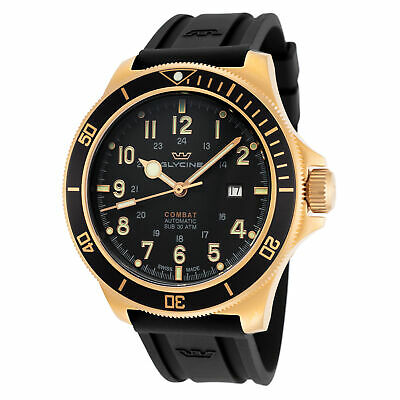 Glycine Men's Combat Sub GL0292 46mm Black Dial Silicone Watch