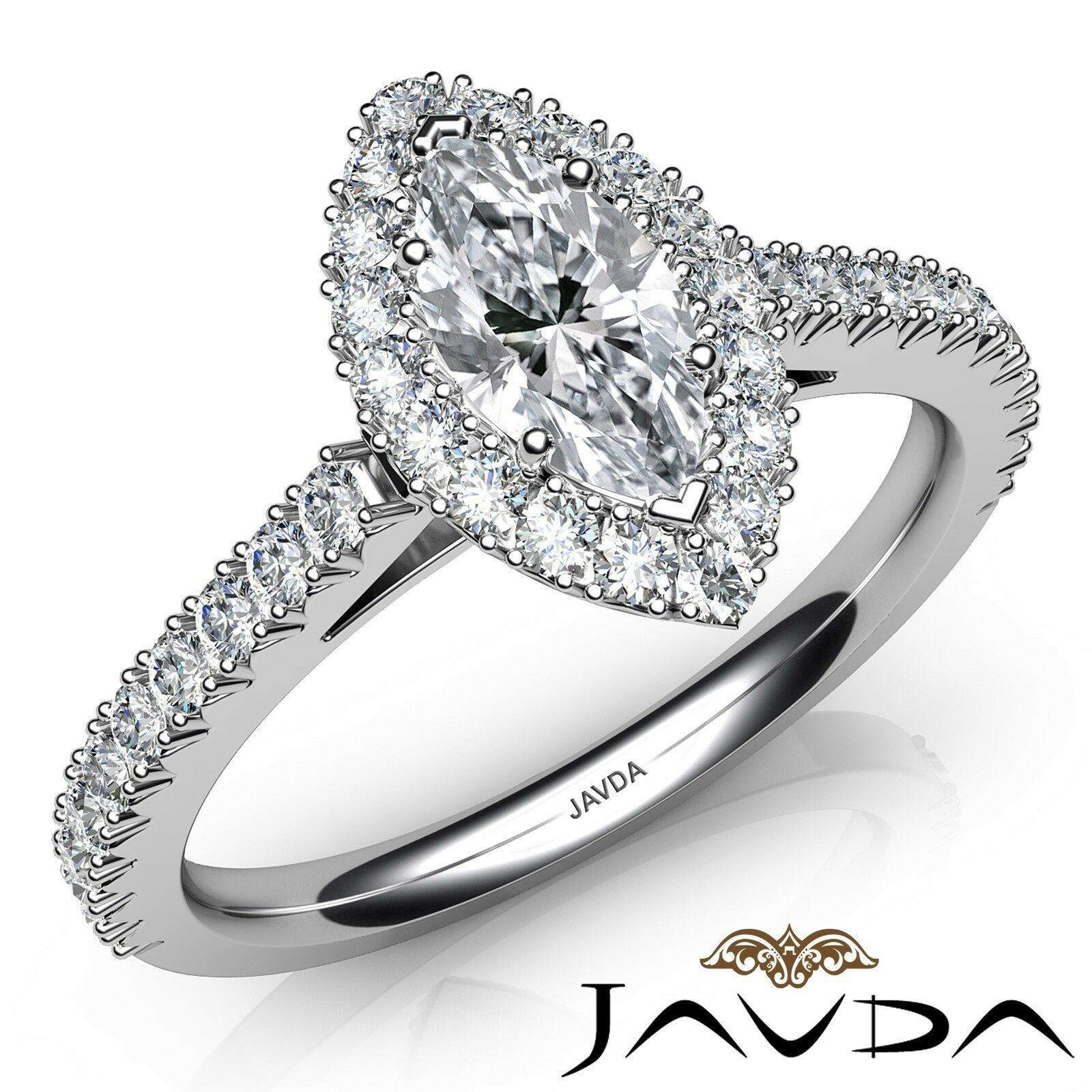 1.8ct French Cut Pave Set Halo Marquise Diamond Engagement Ring GIA F-SI2 W Gold