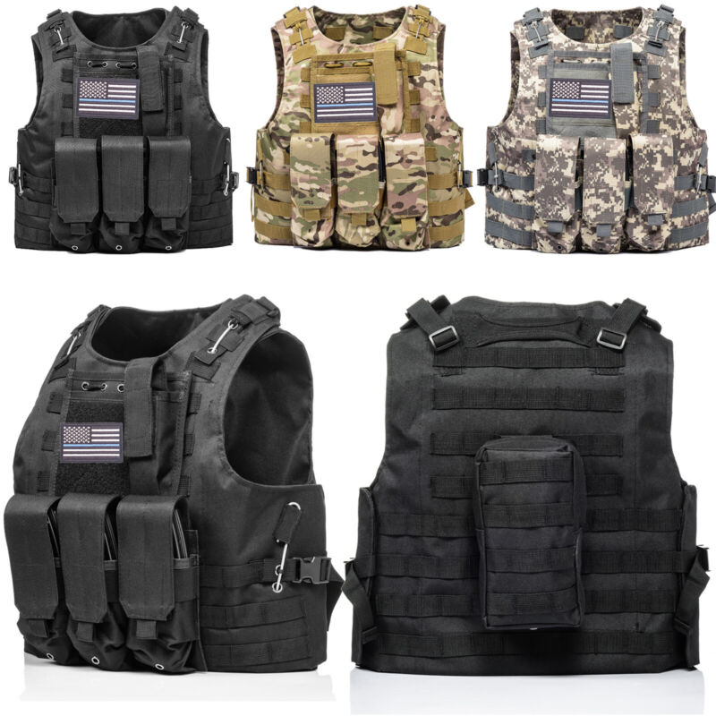 Tactical Vest Molle Military Army Combat Assault 20x30cm Plate Carrier Holder