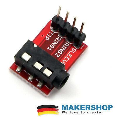 Breakout-modul (TRRS Jack 3.5mm Breakout Modul Adapter Buchse Breadboard Audio Arduino Raspbe...)