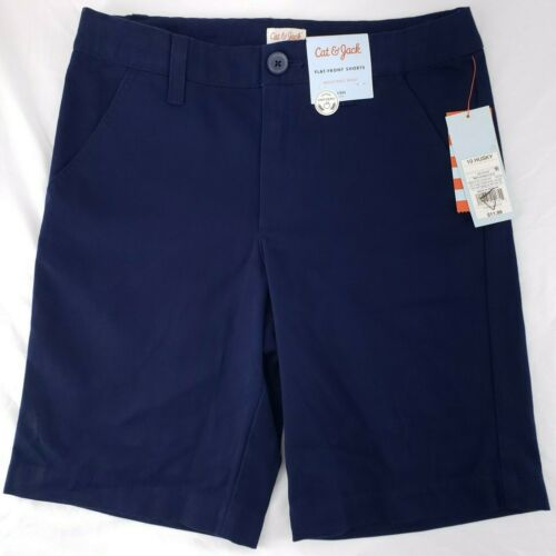 NWT CAT & JACK Flat Front Chino School Uniform Shorts NAVY BOY