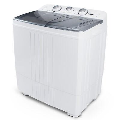 Portable Mini Washing Machine Compact Twin Tub 11lb Washer Spin & Dryer,...