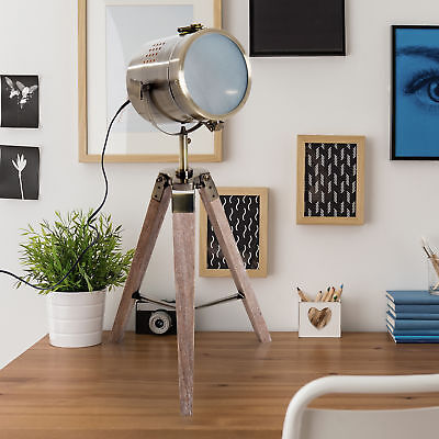 HOMCOM Vintage Tripod Table Desk Lamp Bedside Light Copper Finish Wooden Base