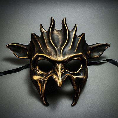 Black Mask For Halloween (Black Gold Fire Devil Mask Masquerade Full Face Costume For Halloween)