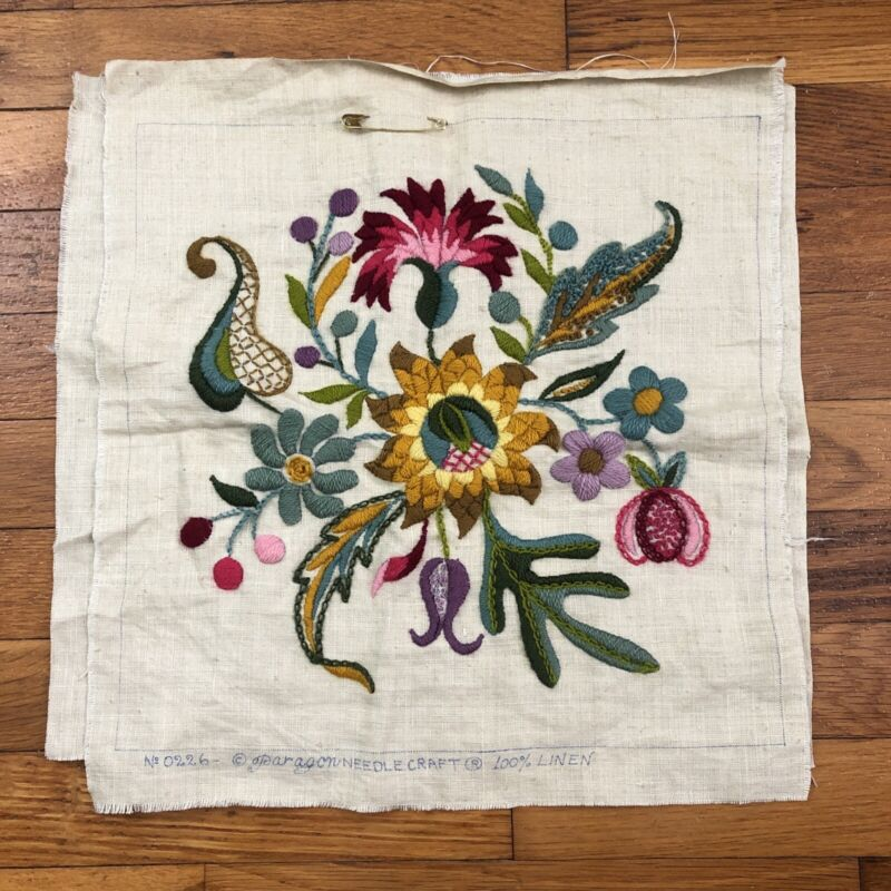 Paragon needlecraft 100% linen floral embroidered pillow 14x15 finished ? 2f323
