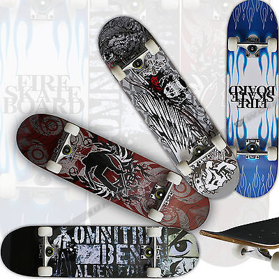 UK Professional Complete Skateboard Maple Deck Black Matte Skating Four Color