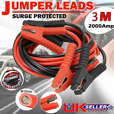 3 METRE 2000AMP Heavy Duty Car Van Jump Leads Booster Cables Start Recovery New