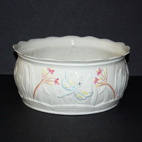 "Belleek 9"" Dragonfly Planter #3221 Parian Porcelain Ireland Mint"