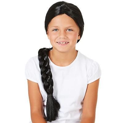 Perücke schwarz mit Zopf 60cm Kinder Fasching Mädchen Indianer Barock Cowgirl  ()