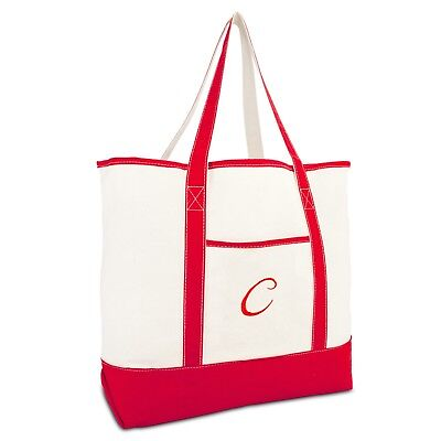 DALIX Monogram Bag Personalized Tote For Women Open Top Red Initial A-Z](Initial Tote Bags)