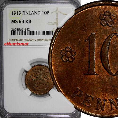 Finland Copper 1919 10 Pennia NGC MS63 RB 1st Year Type KM# 24