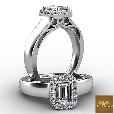 Halo Filigree Emerald Shape Diamond U Cut Prong Engagement Ring GIA G VS2 0.7Ct