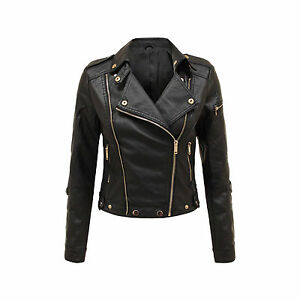 New Ladies Womens Black Faux Leather Pvc Jacket Quilted Bomber Biker Jacket 8 14 Ebay