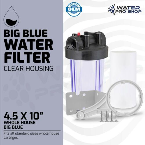 "Clear Whole House Big Blue Water Filter System,1"" NPT + Sediment Filter 4.5x10"""