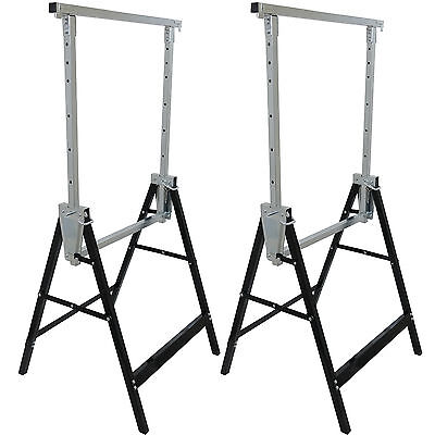 2 TELESCOPIC WORK BENCH TRESTLE FOLDING SAW HORSE BUILDERS CARPENTRY HEAVY DUTY