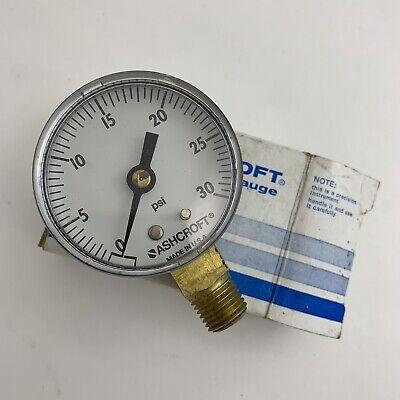 Nib Ashcroft Air Pressure Hydraulic Gauge 2 Face Side Mount 14 Npt 0-30 Psi
