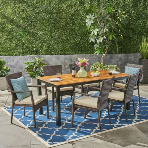 Elaine Outdoor 7 Piece Acacia Wood Dining Set with Wicker Chairs, Teak and Brown Home & Garden