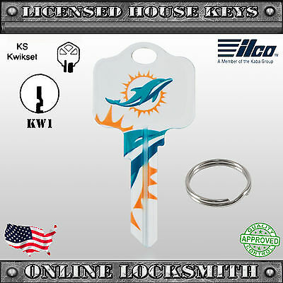 NFL Officially Licensed Football Team Miami Dolphins Key Blank - Kwikset Keyway