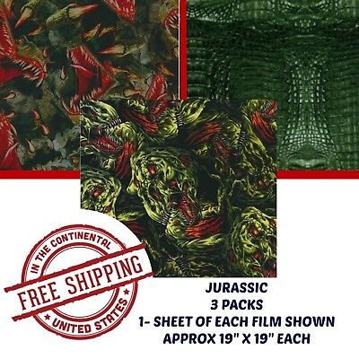 Hydrographic Water Transfer Hydro Dipping Dip Kit Hydro Dip Film Jurassic 3 Pack