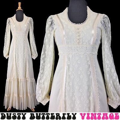 VINTAGE 70s GUNNE SAX BOHO WEDDING DRESS Maxi LACE BISHOP SLEEVES Ivory XXS XS