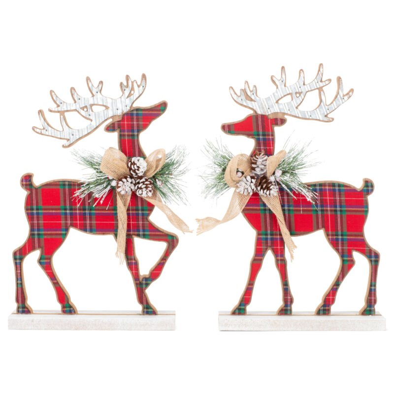 Tartan Plaid Standing Deer Holiday Red and Green MFD Wood, Tin Figurine Set of 2
